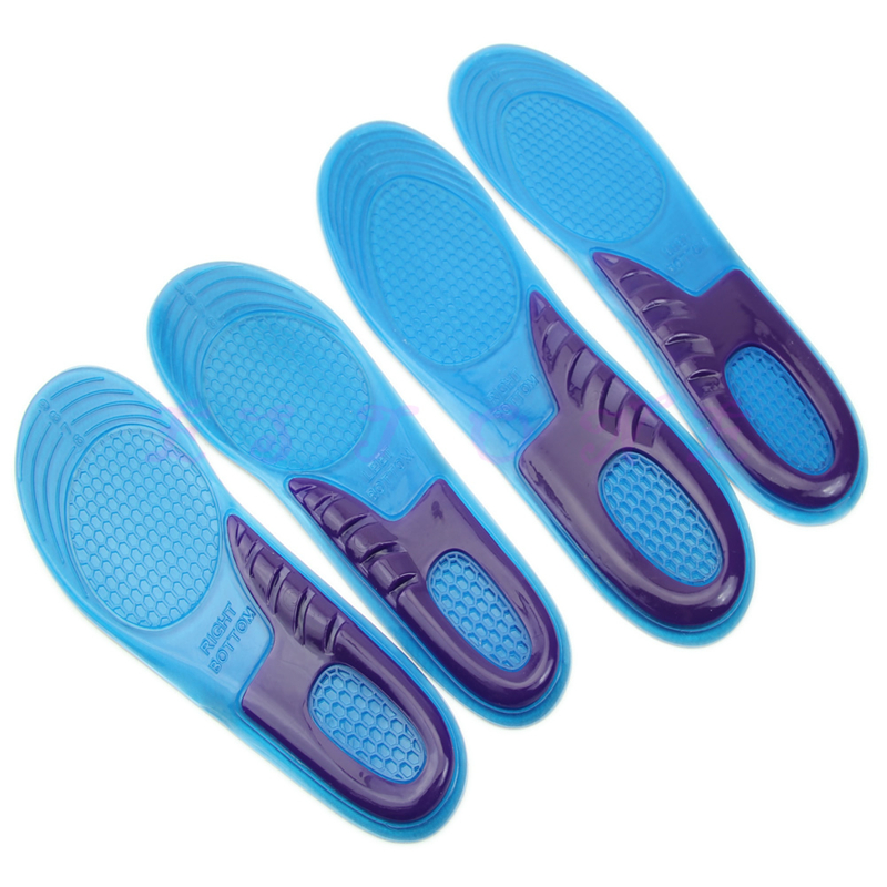 New Fashion High Quality 1 Pair Men Women Orthotic Arch Support Sport Shoe Gel Massaging Insole Run Pad Blue Color Silica gel