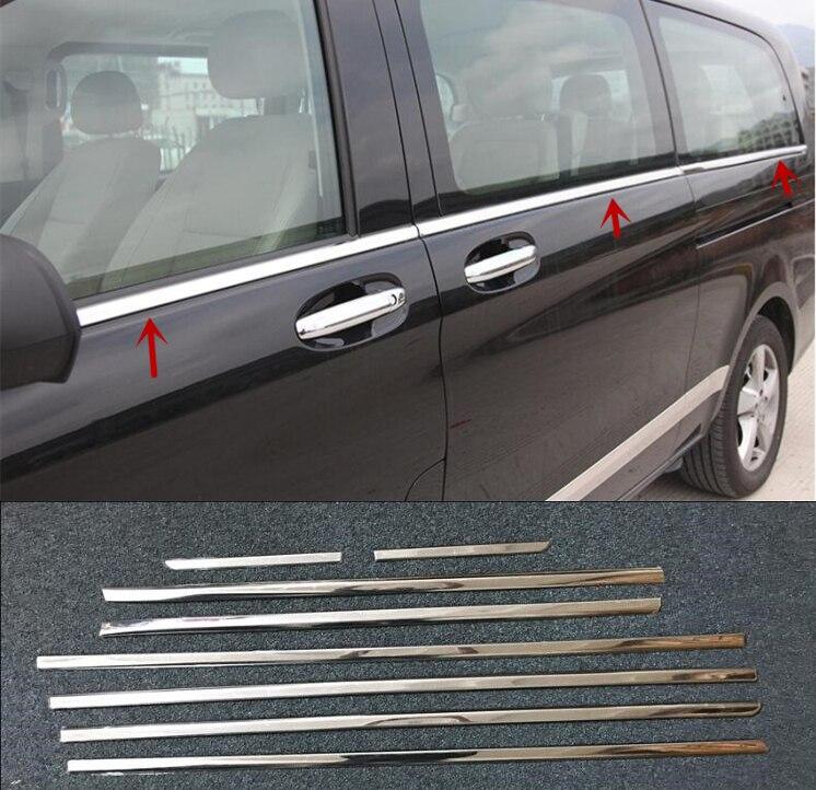 8PCS Stainless steel car window frame lower For Benz V CLASS V200 V220 V250 W447 Vito