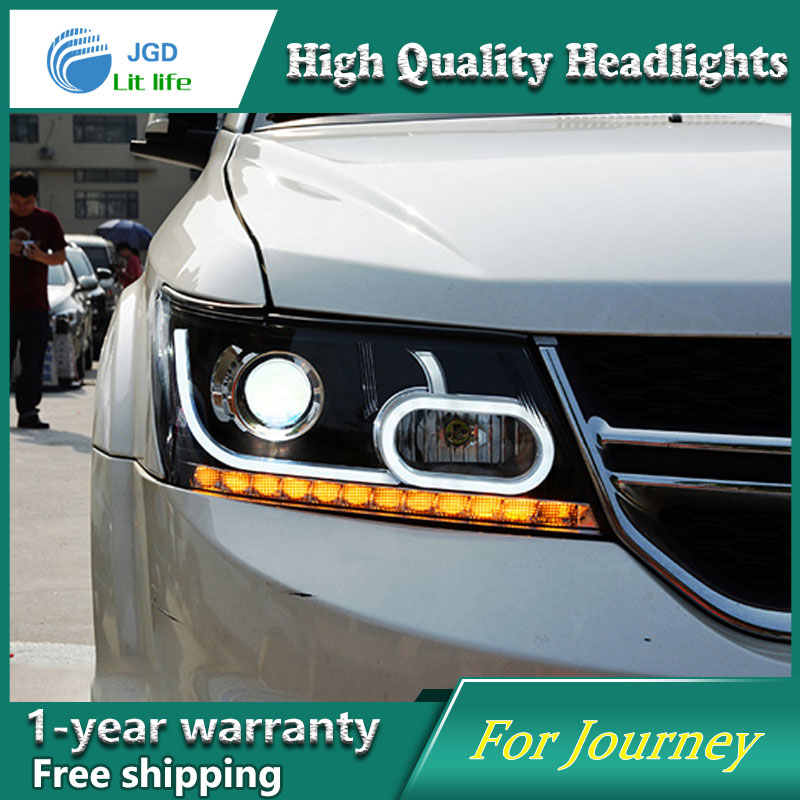 Car Styling For Dodge Journey headlights 09-15 Journey led headlight Head Lamp led drl projector headlight H7 hid Bi-Xenon Lens hot selling 360 degree cob led devil eyes headlights demon eye for 3 0 inch car headlight projector lens ring car styling
