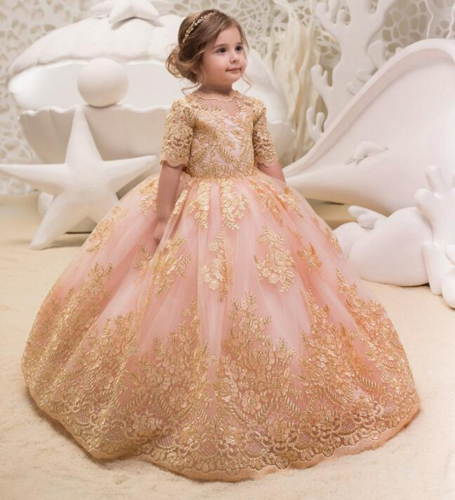 Luxury Gold Lace Appliques Ball Gown Pink Puffy Tulle Long Flower Girl Dresses First Communion Dresses For Girls Pageant Gown fancy pink little girls dress long flower girl dress kids ball gown with sash first communion dresses for girls