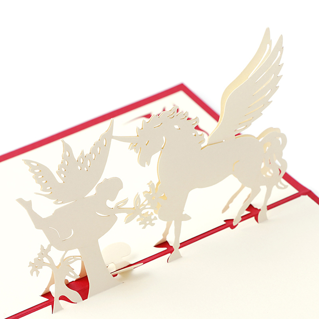 3d Pop Up Paper Laser Cut Greeting Cards Creative Handmade Horse And