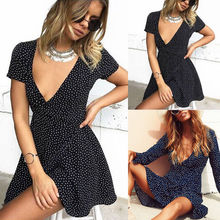 Fashion Women Ladies Clothing Summer Dresses Bandage Bodycon Party Brief Dots Club Mini Dress Women