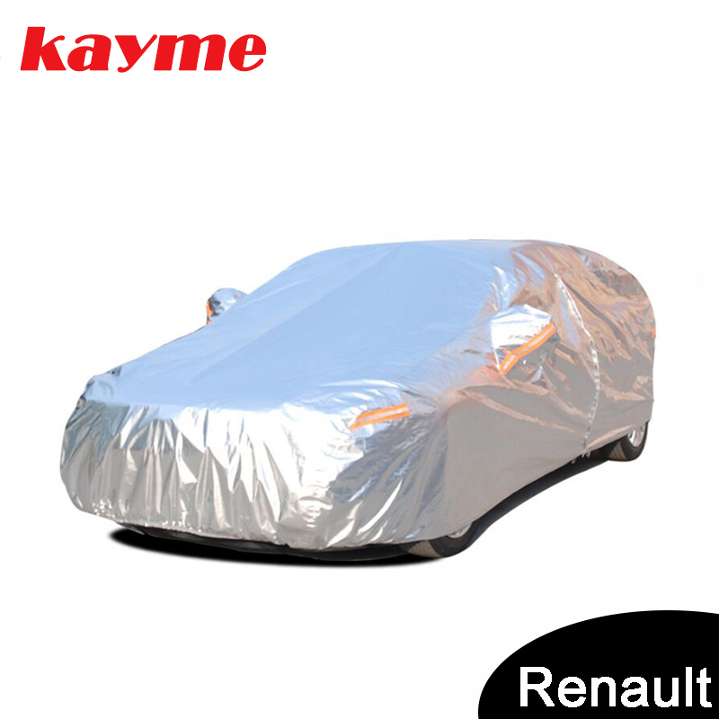 Kayme aluminium Waterproof car covers super sun protection dust Rain car cover full universal auto suv protective for Renault