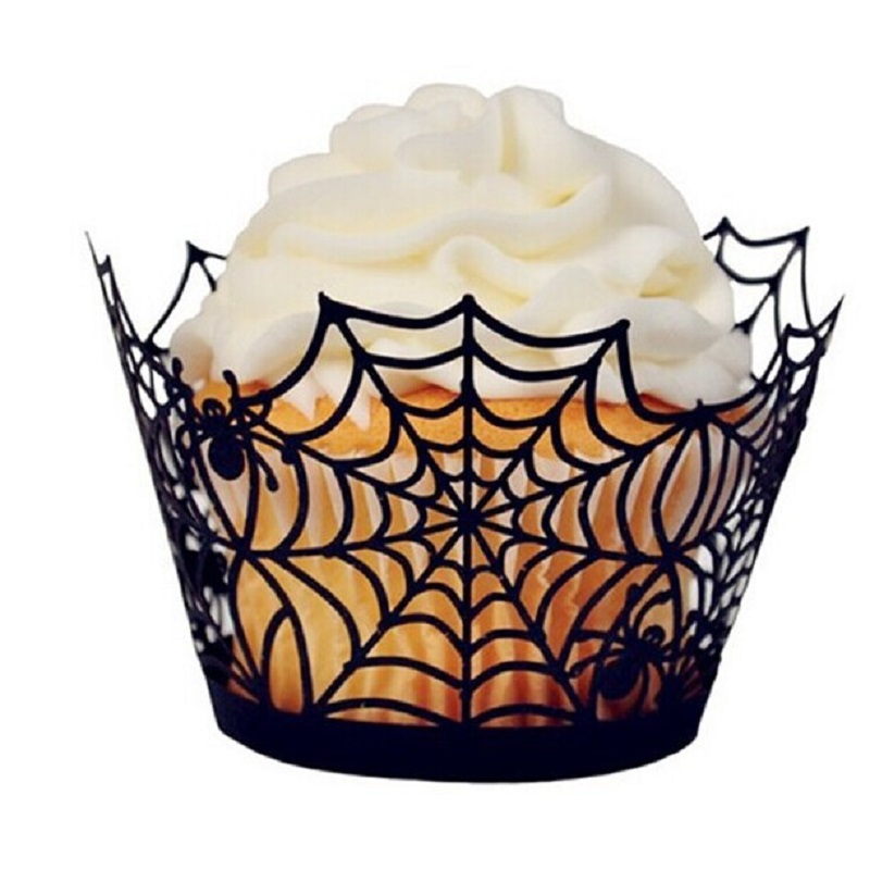 1000pcslot halloween spider webwitchcastle laser cut cupcake wrappers liners party