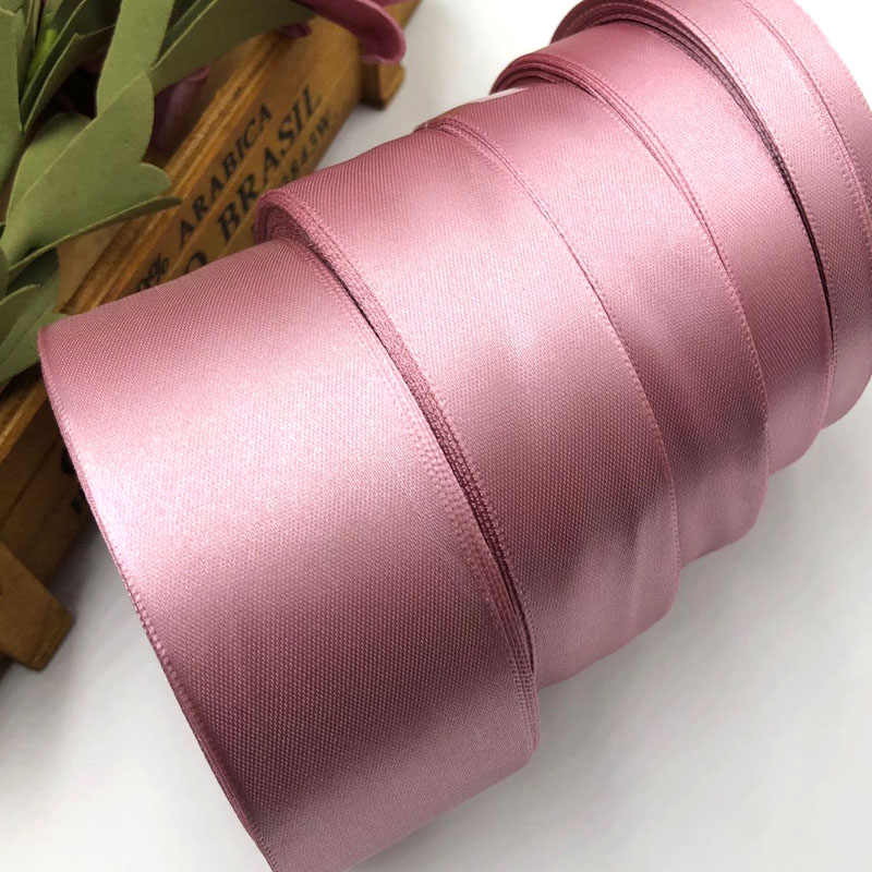 25 Yards Dark Mauve Silk Satin Ribbon Wedding Party Decoration Gift Wrapping Christmas New Year Apparel Sewing Fabric Ribbon 92