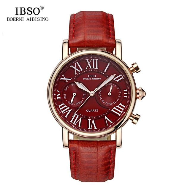 a34c37f0f73a IBSO Week Display Multifunction Watches Vogue Quartz Watch Men Business  Relogio Masculino Leather Band Relojes Masculino 6819