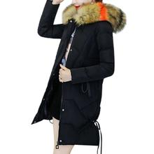 Yfashion Women Medium Long Type Cold-proof Large Warm Collars Thickened Down Jacket Simple Beautiful Natural Coat 2019