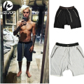 1:1 High Quality Justin Bieber Hip-Hop Summer Shorts Loose Cross Kanye Summer Shorts With Fake Zippers