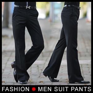 Image 2 - Mens התלקח מכנסיים מכנסיים פורמליים זכר פעמון תחתון ריקוד חליפת מכנסיים אופנה גודל 28 33 שחור