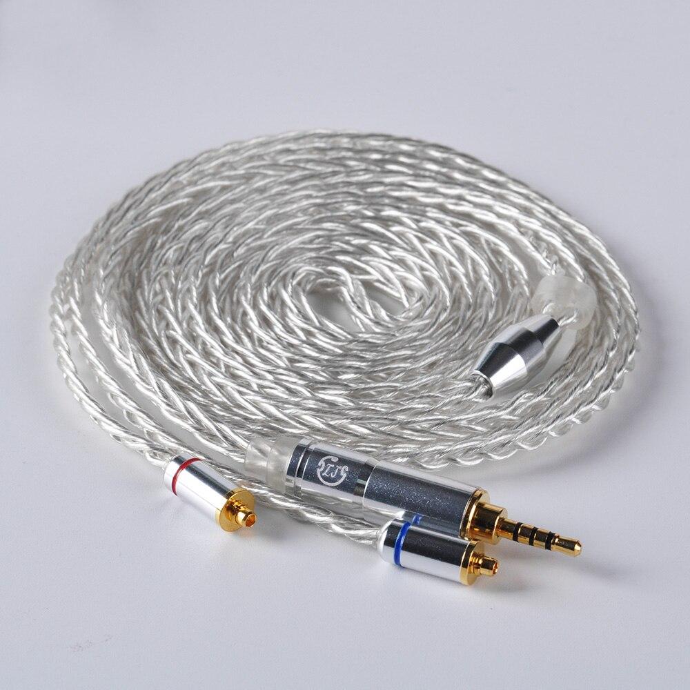 LZ 8 core 6N один кристалл Медь посеребренный кабель 2,5/3,5/4,4 мм балансный кабель с разъем MMCX для LZ A5 A4 HQ8 HQ10