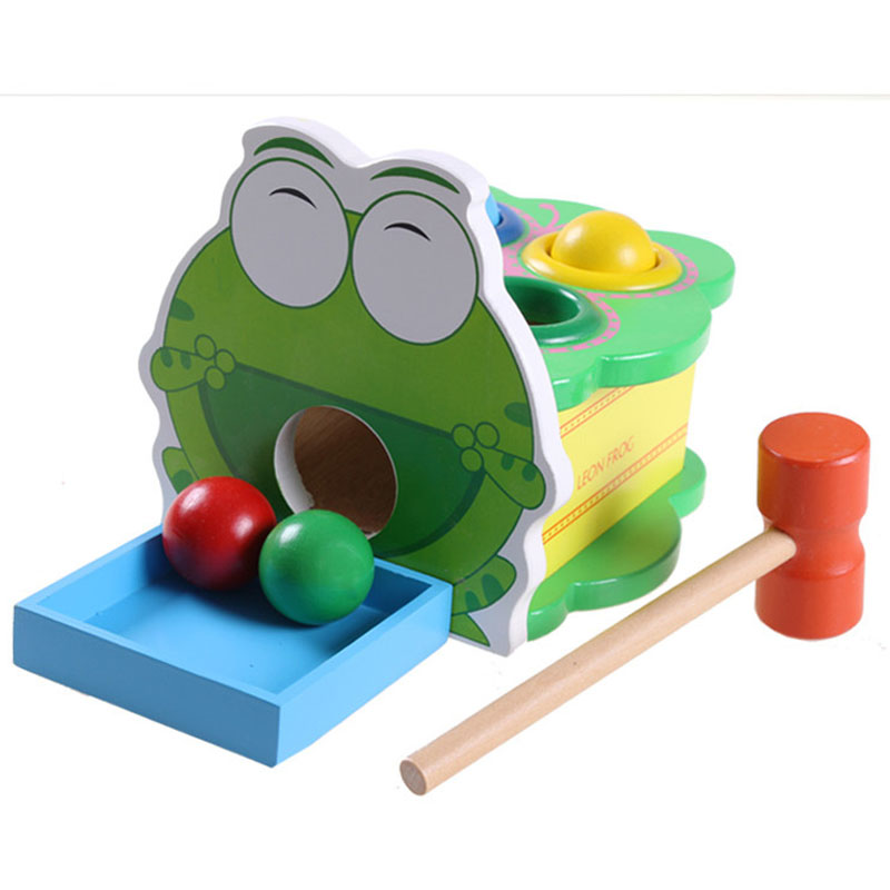 Wooden Learning Toys : Educational wooden frog toy for children