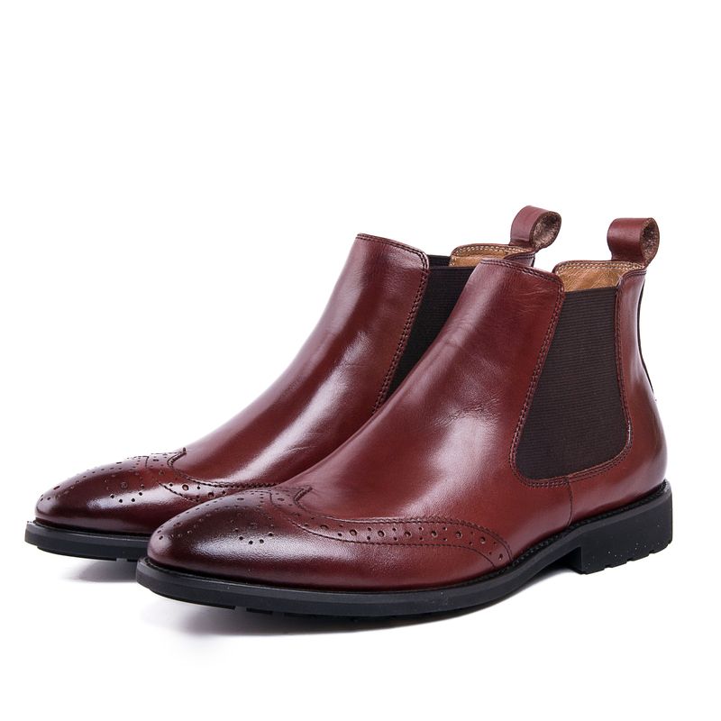 2017 Men's Chelsea Boots Genuine Leather Elastic Band Pointed Toe Men's Leather Shoes Chakku Ankle Dress Wedding Fashion Boots elastic band women genuine leather ankle boots chelsea hand made shoes motorcycle coincise fashion black matte women s boots