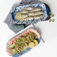 1pcs Japanese HENFFENG Series Ceramic Big Dinner Plate Hotel Wholesale Fish Long Plate With Handle