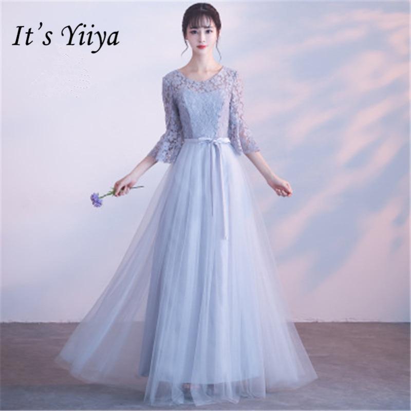 It's YiiYa Gray Flare Sleeve O-neck   Bridesmaid     Dresses   Elegant High Quality Slim A-line Ankle-length   Dress   B033