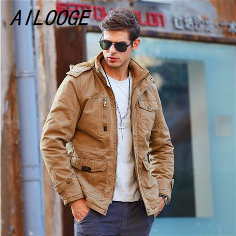 AILOOGE 2017 New Winter Jackets Thick Warm Men Parkas Hooded Windproof Men Coat Cotton-Padded Military Jacket Brand Clothing winter men parkas casual jackets man hooded windproof thick warm outwear overcoat wadded coat style solid brand clothing