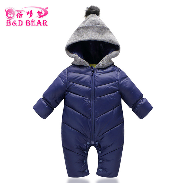 b6476e1d3e0c Toddlers Snowsuit Winter Baby Boys Rompers Warm Overalls for Baby ...