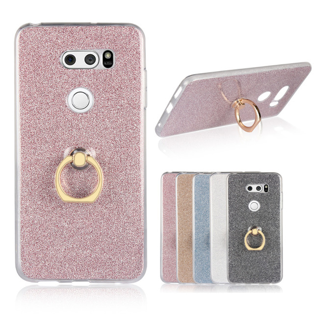 For LG V30 Case Flash powder 3D Relief Phone Case For LG V30 Case tpu  Silicone Soft Back Cover Ring-in Half-wrapped Case from Cellphones &
