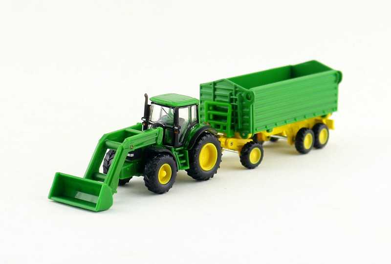 Gratis Pengiriman/Siku 1843 Mainan/Model Diecast Logam/1: 87 Skala/JD Buldoser Traktor Dengan Trailer Mobil/Pendidikan Koleksi/Hadiah/Anak