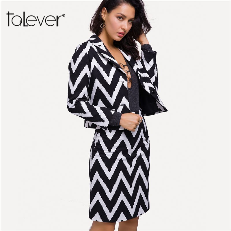 01ba66054c Autumn Women Work Skirt Blazer 2 Piece Set Single Breasted Striped Short  Blazer Lady Fashion Business Formal Skirt Suit Talever-in Skirt Suits from  Women's ...