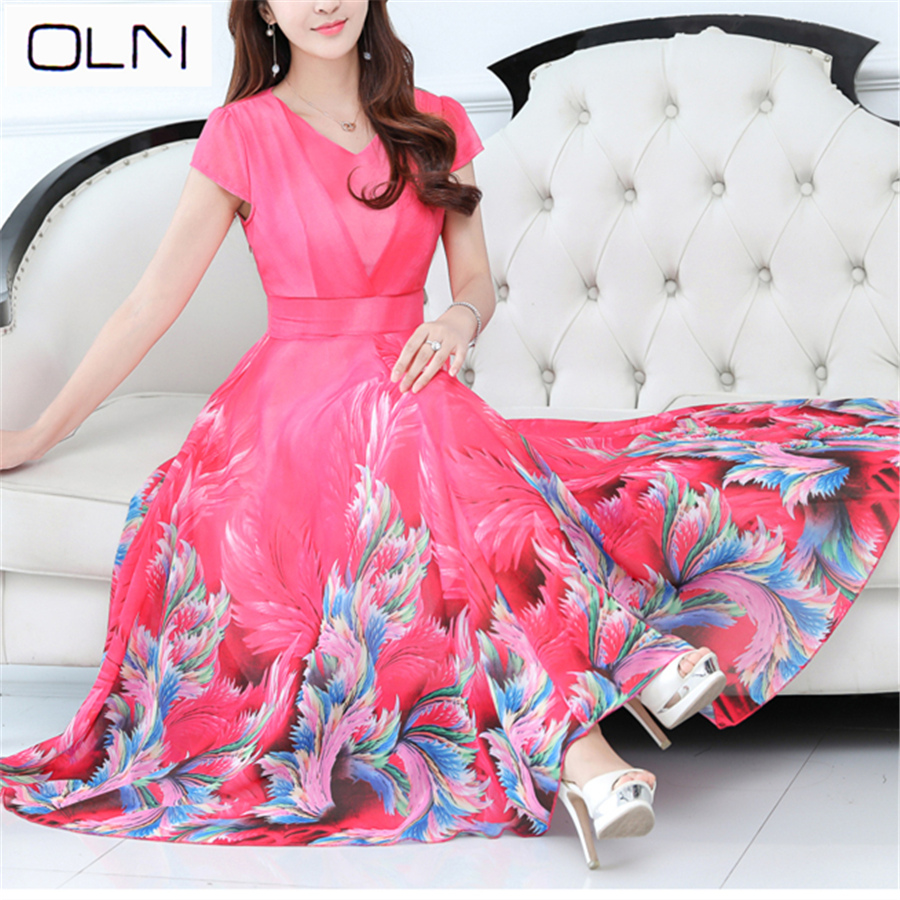 Dress large size chiffon mesh lace Korean new summer long dress beach Slim was thin big swing female S-3XL