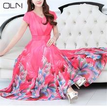 цены на Dress large size chiffon mesh lace Korean new summer long dress beach dress Slim was thin big swing chiffon dress female S-3XL в интернет-магазинах