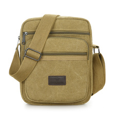 Preppy Style Shoulder Bag 100% Cotton Solid Contracted Joker Messenger for Men More Zippers Crossbody Black Leisure