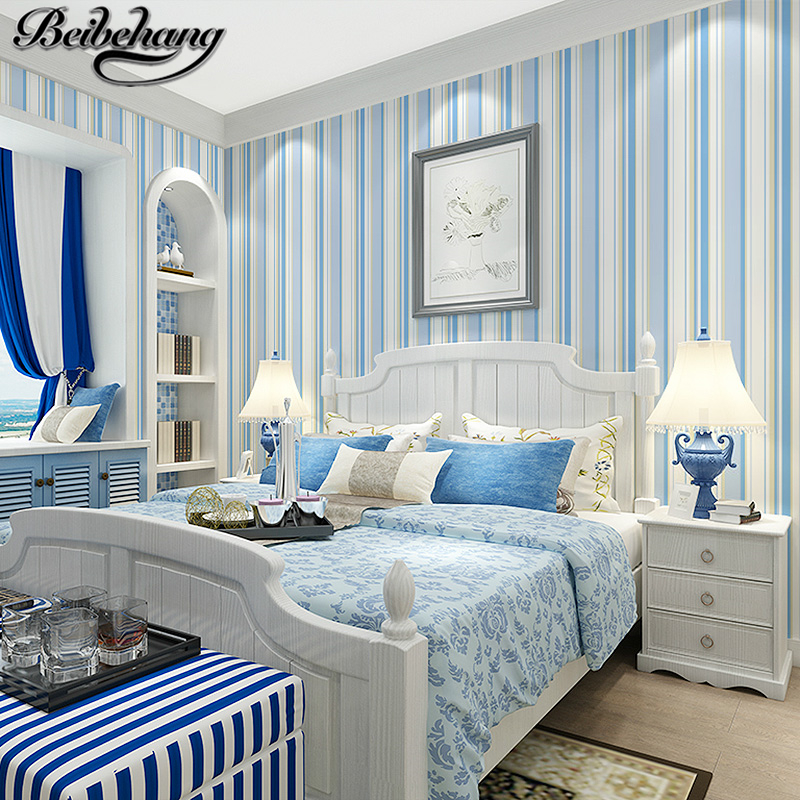 Beibehang mediterranean blue vertical striped wallpaper for Striped wallpaper living room