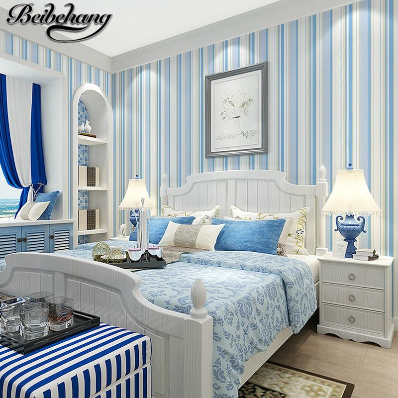 Beibehang Mediterranean Blue Vertical Striped Wallpaper