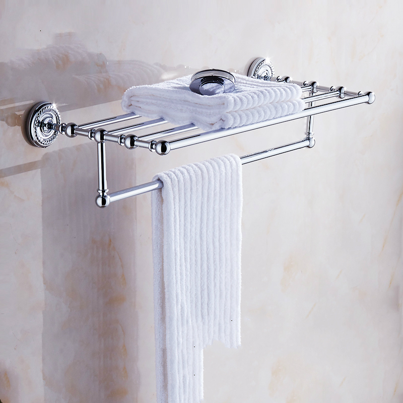 Antique Brass Double Layer Towel Rail Wall Mount Polished Chrome Towel Rack Towel Towel Bar Bathroom Shelf Bathroom Products Rs6 whole brass blackend antique ceramic bath towel rack bathroom towel shelf bathroom towel holder antique black double towel shelf