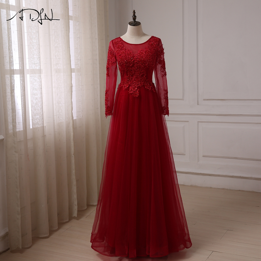 ADLN Cheap Long Sleeves Arabic   Prom     Dresses   Scoop Neck Beaded Applique Tulle A-line Evening Party   Dress   Robes De Soiree