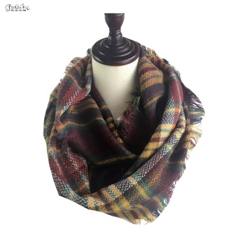 Imitation cashmere scarf, autumn and winter big color plaid scarf in Europe and Amera, plaid shawls mantillas