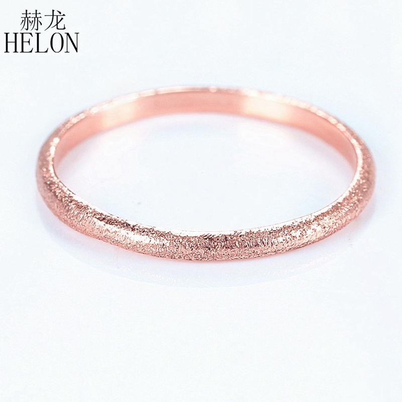 HELON Solid 10k Rose Gold Elegant Women Engagement Ring Art Deco Fine Jewelry Wedding Fine Band Ring wholesale solid gold heart ring band elegant women ring