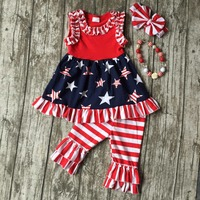 Summer Baby Girls Suit Kids Wear Boutique Clothes Girls Star Dress July 4th Outfits Red Stripe