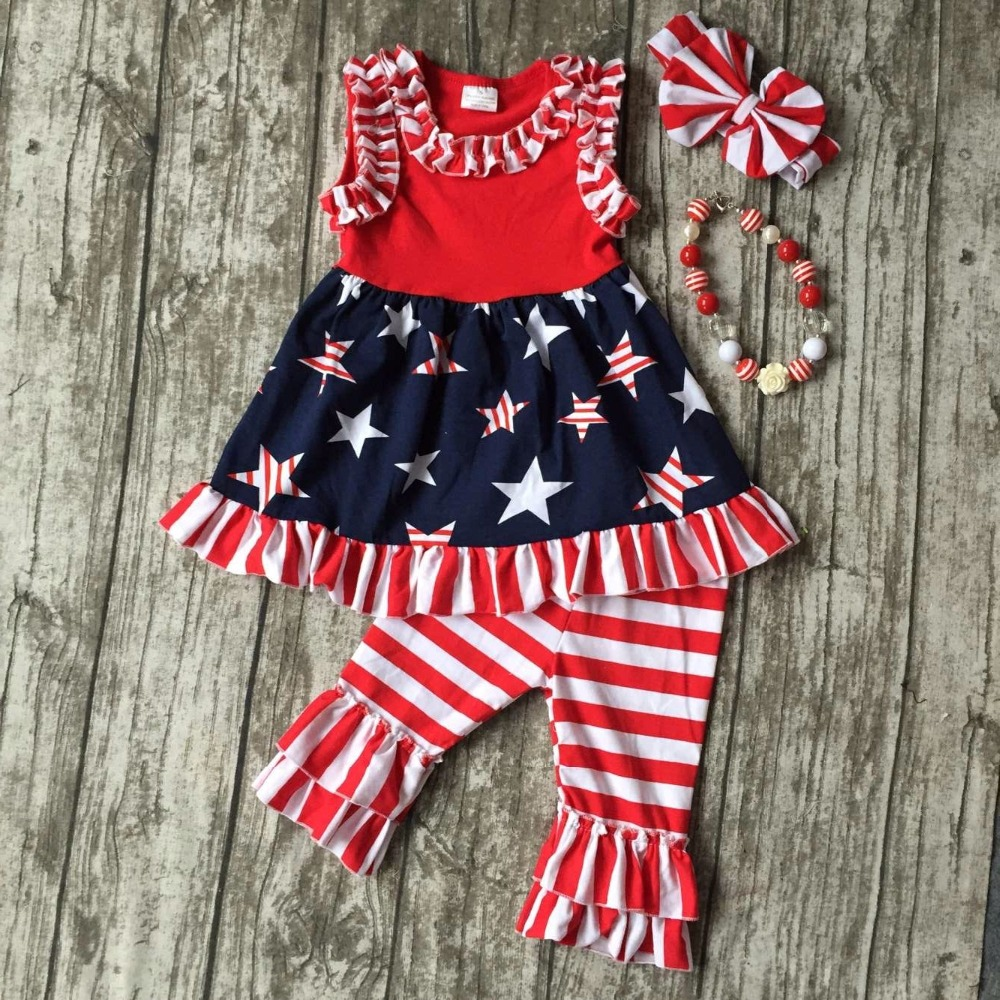 summer baby girls suit kids wear boutique clothes girls star dress July 4th outfits red stripe capris clothes with accessories
