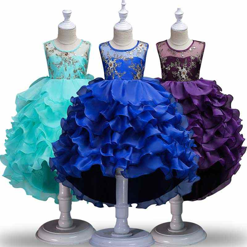 fd21180a7d4 Kids Dresses for Girls Wedding 2019 Boutique Dress Children's Embroidery  Clothing Costume Princess Birthday Party Dress