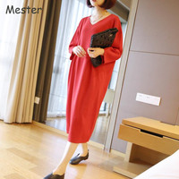 European Style Women V Neck Long Sweater Office Ladies Solid Knitted Sweater Dress Loose Oversized Sweaters