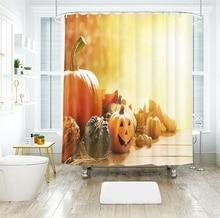 3d Pumpkin Lantern Pattern Shower Curtains Cartoon Bathroom Curtain Thicken Waterproof Thickened Bath Curtain for Halloween waterproof happy halloween ghost bath curtain
