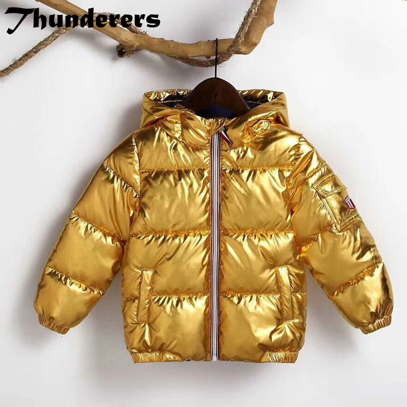 Children's cotton coat new boys and girls silver and gold bread jacket cotton jacket baby warm jacket down cotton padded clothes pu leather and corduroy spliced zip up down jacket