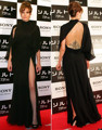 Design Celebrity Dress Backless Long Black Chiffon red carpet dresses 2014 vestidos de celebridades curtos