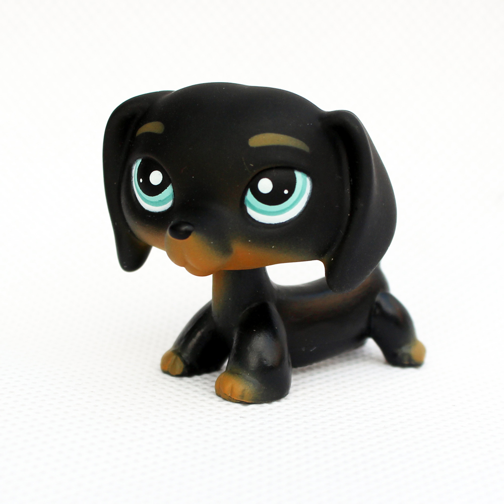 все цены на real pet shop toys DACHSHUND dog rare animal figure old original black puppy sausage free shipping онлайн