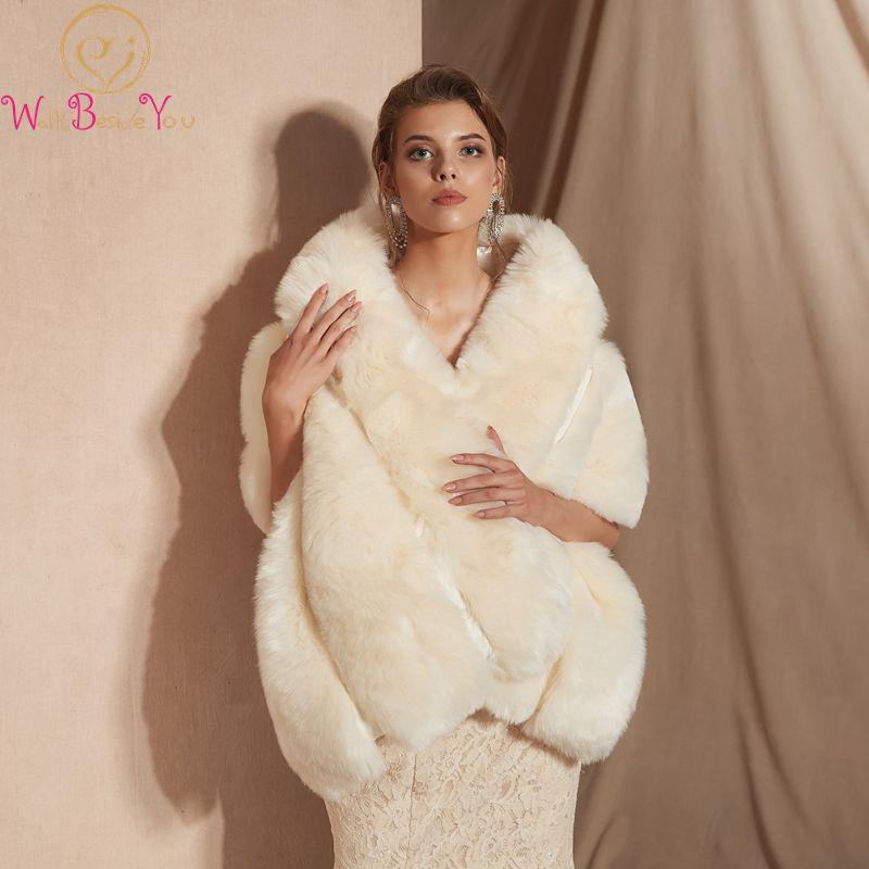 Une Mariée étole fourrure Veste Fourrure Simili étole blanc-Ivory Nature Accessoires de la mariée