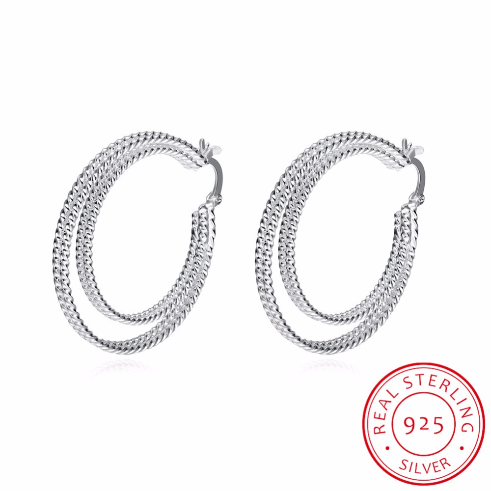 High Quality 925 Sterling Silver Classic Double Circle Round Hoop Earring Fashion Woman Jewelry Fit For Party Holiday Wearring Soft And Antislippery