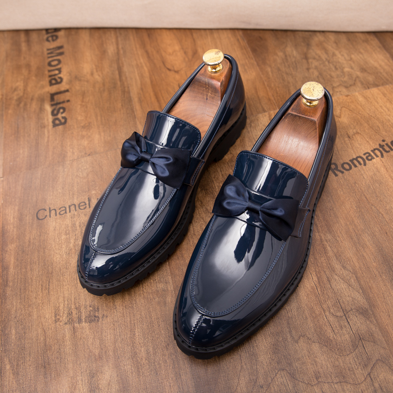 formal men leather shoes male trend Bow slip on footwear cool italian luxury brand wedding dress moccasins oxford shoes for men (36)