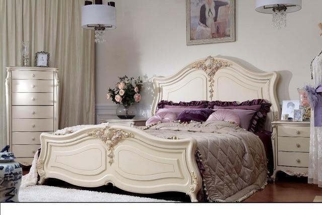Meubles de chambre à coucher de luxe design classique lit en bois ...