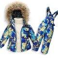 Новая Русская зима 2016 мальчик зимние детей девочек белая утка вниз ветровки пальто комплект одежды куртка, детская одежда