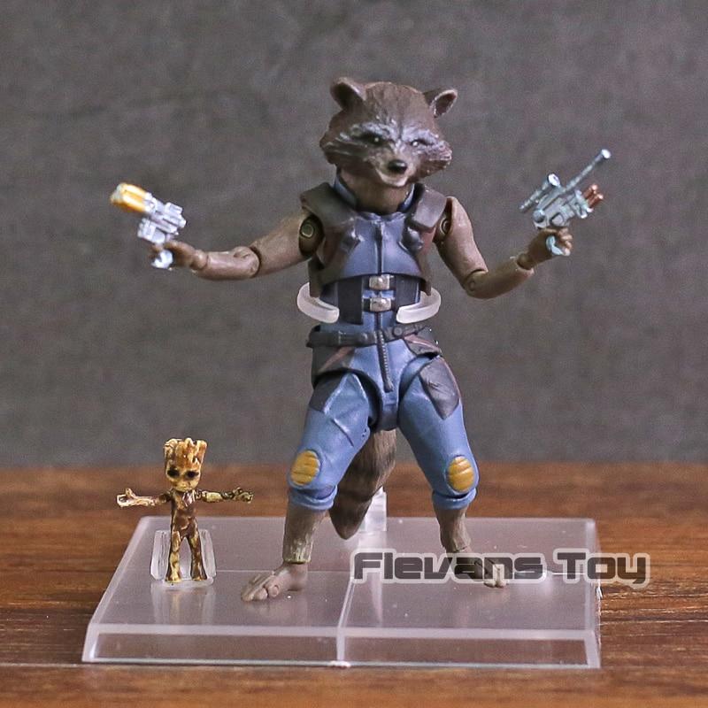 все цены на SHF S.H.Figuarts Rocket Raccoon and Tree Man PVC Action Figure Collectible Model Toy онлайн