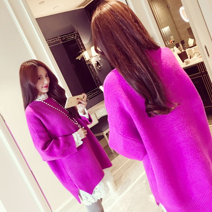 Pengpious round neck long sleeve pregnant women pullovers sweater side split high-low irregular knitted tops sweaters coats cute