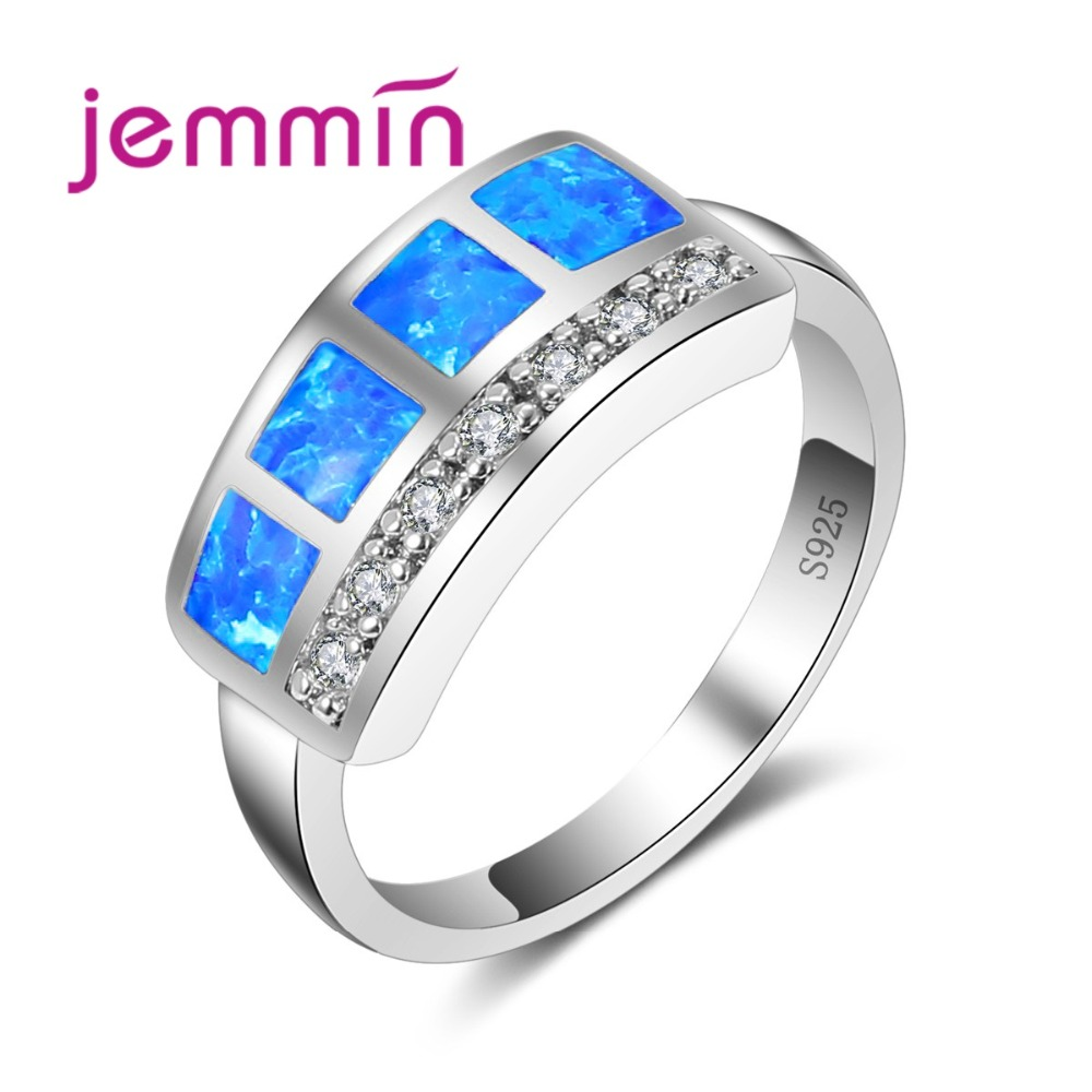 Jemmin High Quality Unique Geometic Opal Ring 925 Sterling Silver Ring Promise Engagement Rings Bridal Fashion Jewelry