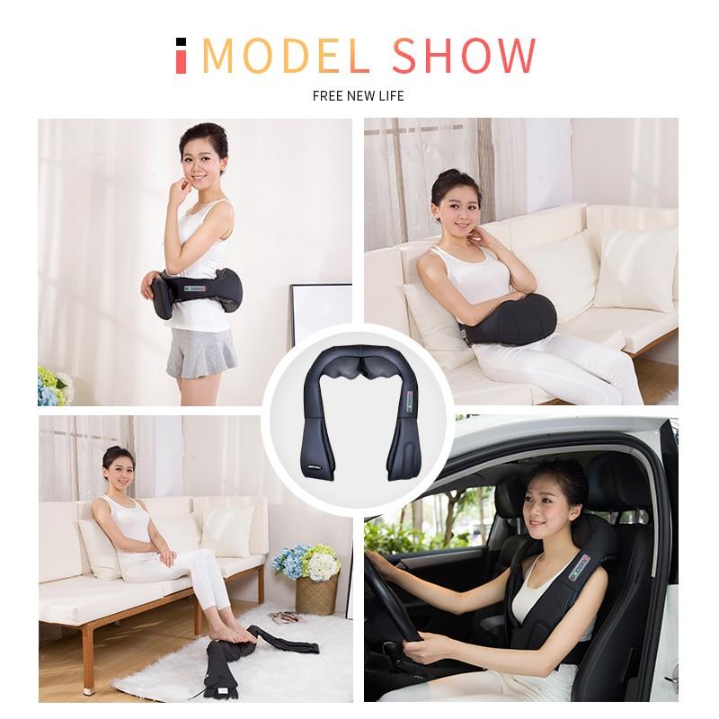 Shiatsu Neck Back Massagem with Heat Deep Kneading Massager Shoulders Legs Foot Full Body Portable Electric Massager Home Office