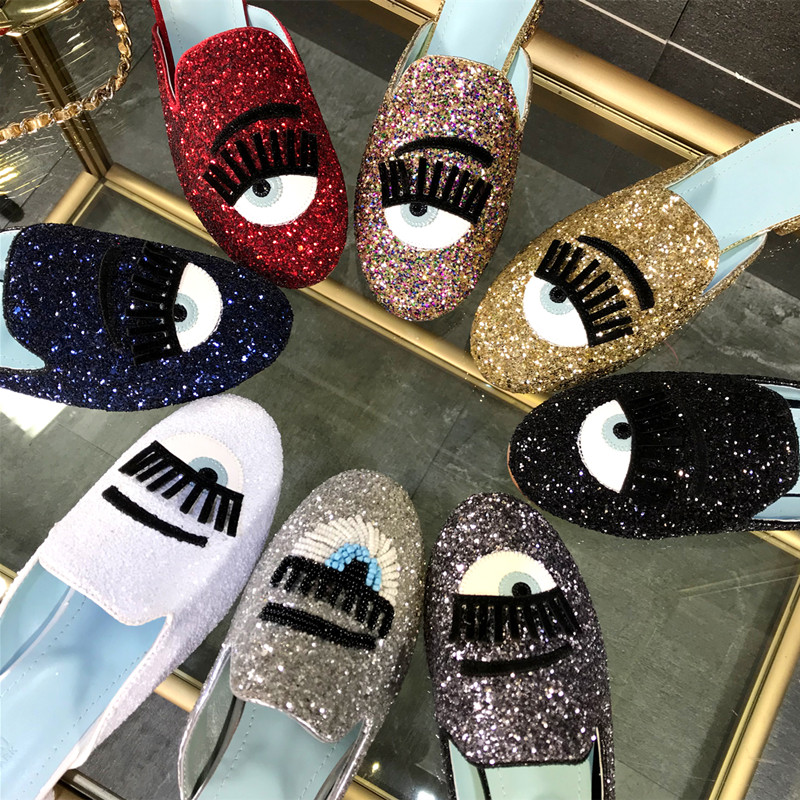 Eyes Lips Eyelashes Glitter Slippers Women Sequins Flat Shoes Woman Slides  Summer Beach Shoes Round Toe Flats Autumn House Shoes-in Slippers from Shoes  on ... c6a2f9b0ae3f